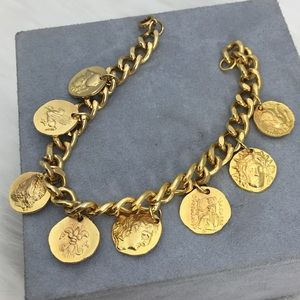 Vintage Greek Coin Replica Charm Bracelet
